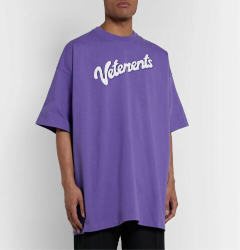 VETEMENTS 20SS Purple Letter Logo Couple Loose Men Women T-shirt V547