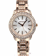 Henley Ladies Real Sparkly Crystal Rose Gold Tone Bracelet Watch New Season