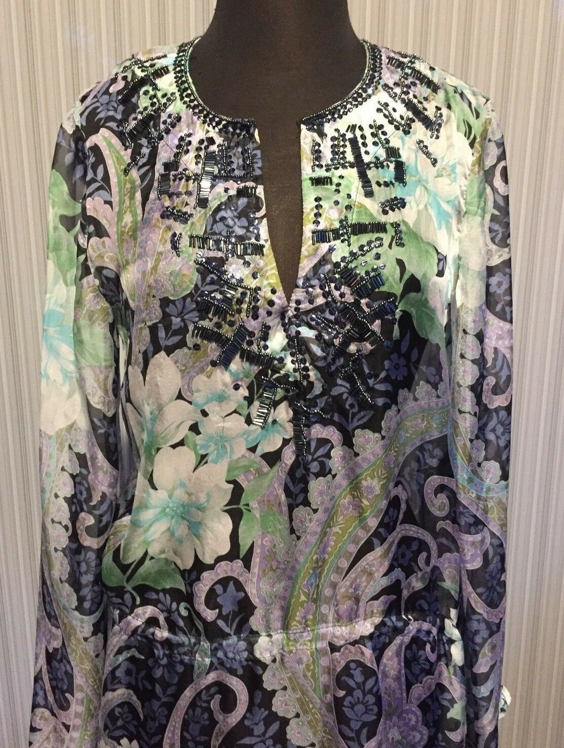 Cache Embellish Peasant Boho Top M L XL Sheer Illusion Drawstring Waist  NWT