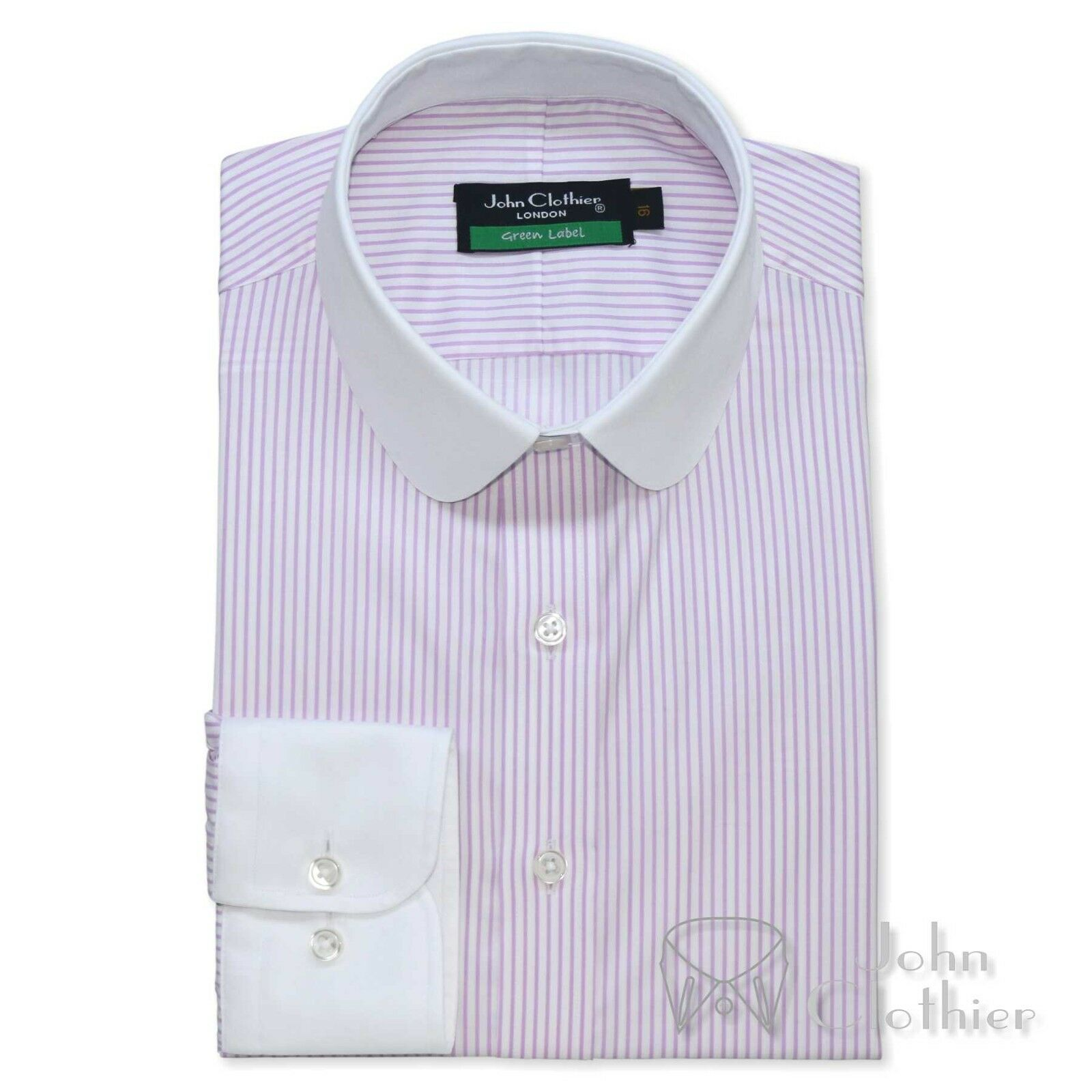 Herren Cotton shirt Club collar Bankers style Lilac Weiß stripes Penny Suit shirt