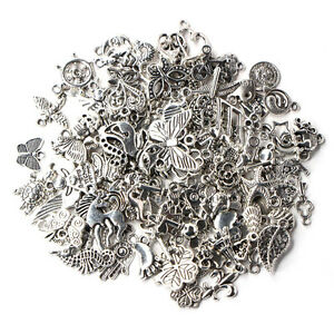 Wholesale-100pcs-Bulk-Lots-Tibetan-Silver-Mix-Charm-Pendants-Jewelry-DIY-JE-vv