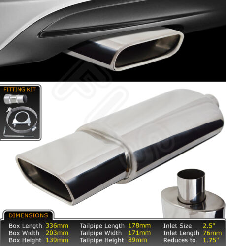 UNIVERSAL PERFORMANCE FREE FLOW STAINLESS STEEL EXHAUST BACKBOX YFX-0689  BEE2