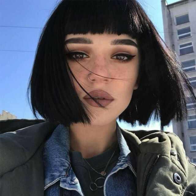 Women Short Bob Black Wig with Hair Bangs Straight Heat Resistant Wig Synthetic