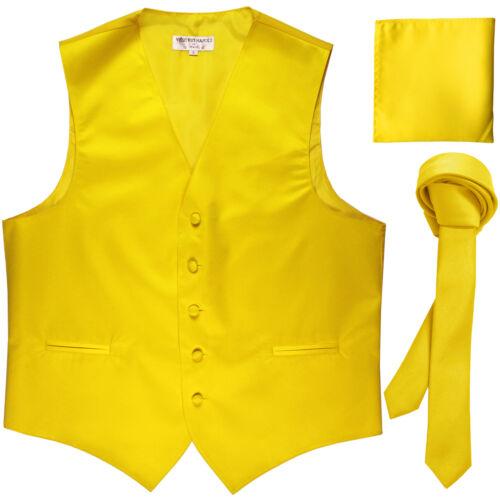 """New Men/'s yellow vest Tuxedo Waistcoat/_1.5/"""" necktie /& hankie set wedding"""