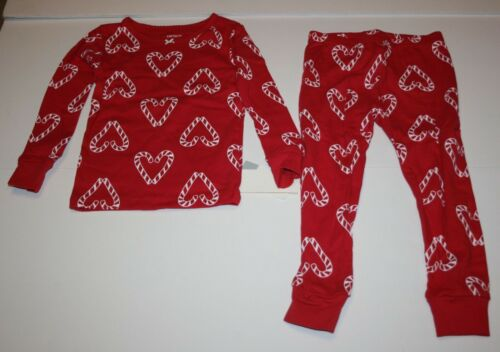 NEW Carter/'s 2 Piece PJs Girls Red w Heart Candy Cane Pajamas  3T 10 12 14 yr