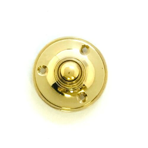 53mm Solid Polished Brass Victorian Round Door Bell Chime Push Button Press