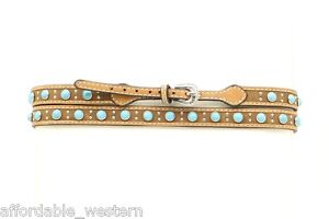 TURQUOISE-Studs-BROWN-Leather-HATBAND-Western-Cowboy-Hat-Silver-Buckle