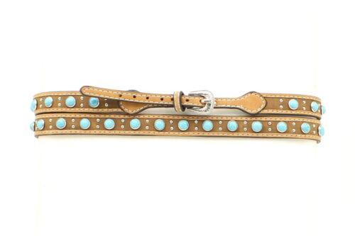 TURQUOISE Studs ~ BROWN Leather HATBAND ~ Western-Cowboy Hat ~ Silver Buckle