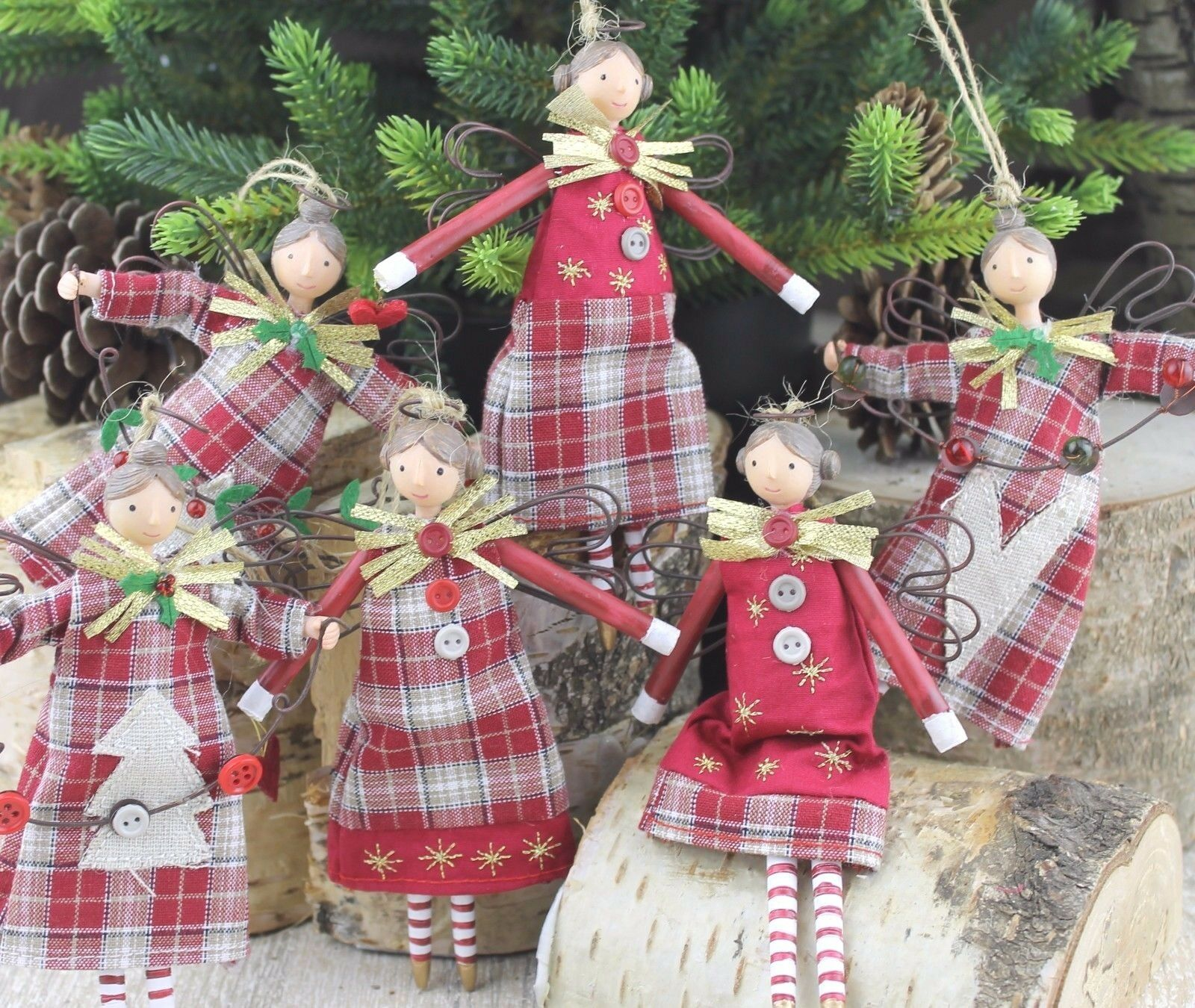 GISELA GRAHAM CHRISTMAS NEW ENGLAND FOREST FOLK FAIRY TARTAN ANGEL DECORATION
