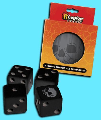 LEGION SUPPLIES 9 die set D6 16mm SKULL Iconic Dice w// Matching Tin Bio ccg