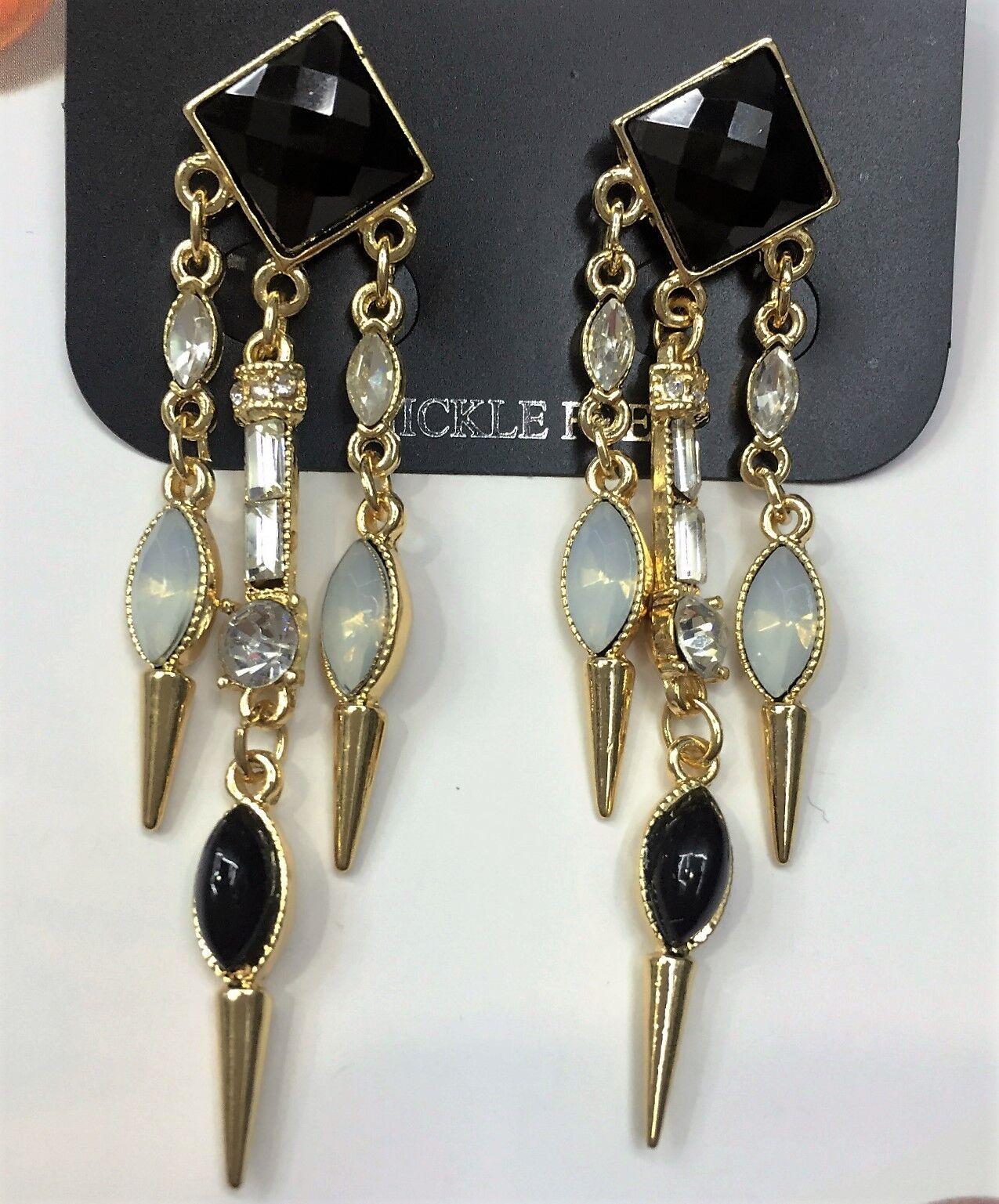 Gold Tassel Chain Black Rhinestone Stud Dangle Statement Earrings UK