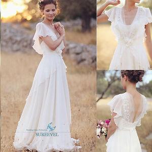 White Ivory Bohemian Chiffon Wedding Dresses Lace Beach 43fcb431c7d7