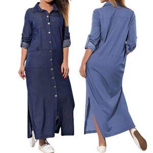 Women-Pockets-Denim-Blue-Loose-Long-T-Shirt-Dress-Long-Sleeve-Maxi-Split-Dress-L