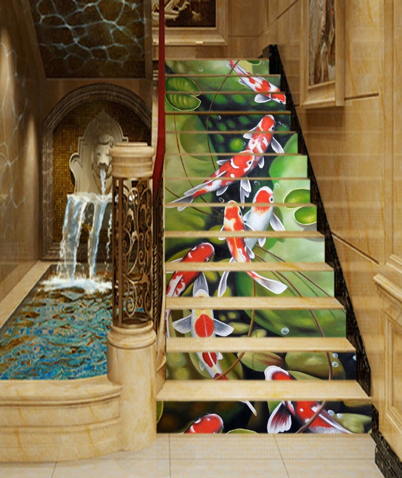 POOL 3D poisson en pierre 401 contremarches Décoration Photo Murale Autocollant Vinyle Papier Peint US
