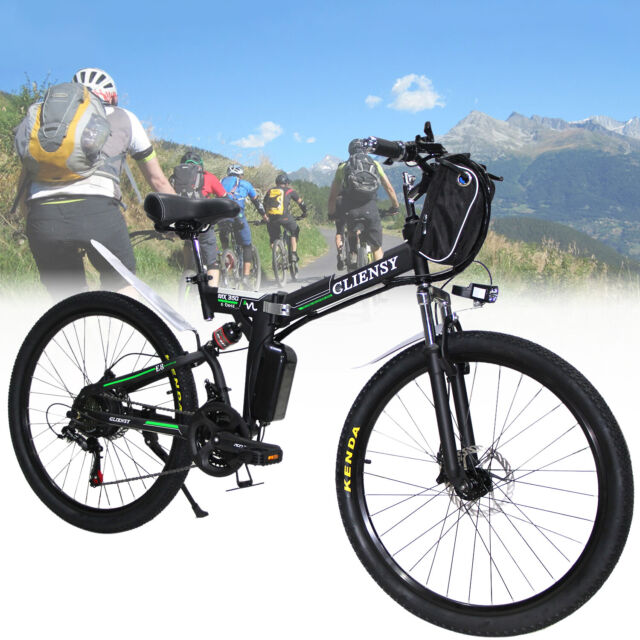 "Black 26"" CLIENSY Folding Electric Bike City Mountain Cycling EBike 36V 350W US"