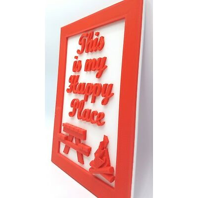 3D Printed Camper Cabin Sign This Is My Happy Place Fire Custom Colors Plaque