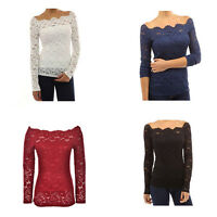 Autumn Sexy Off Shoulder Lace Crochet Shirts Long Sleeve Casual Tops Blouse hcuk