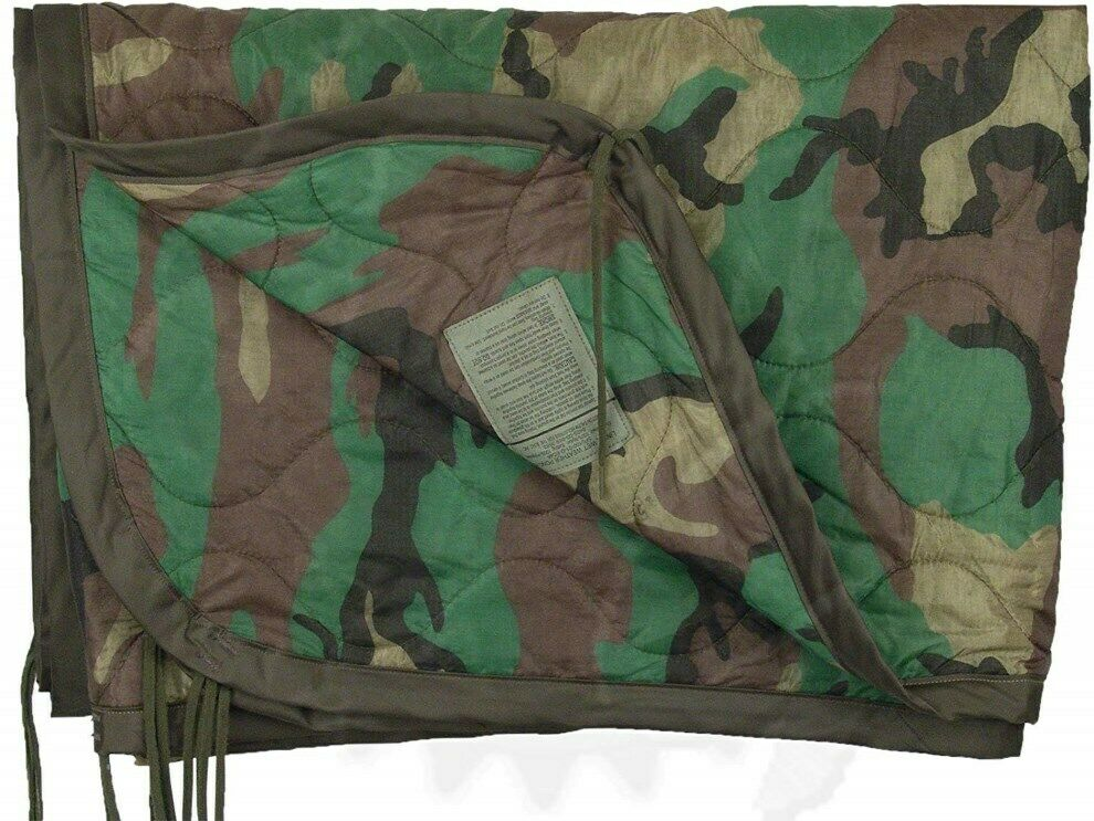 Genuine US Military Issue All Weather Wet Weather Poncho Liner, Woobie Liner
