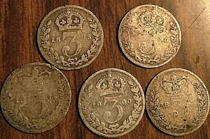 LOT-OF-5-FOREIGN-SILVER-COINS
