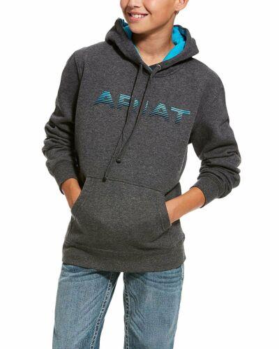 Small ARIAT Boys/' Charcoal Logo Brushed Fleece Hooded Sweatshirt