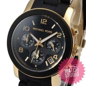 d00dfe3012c5 La imagen se está cargando MK5191-Negro-y-Michael-Kors-Oro-senoras-reloj-