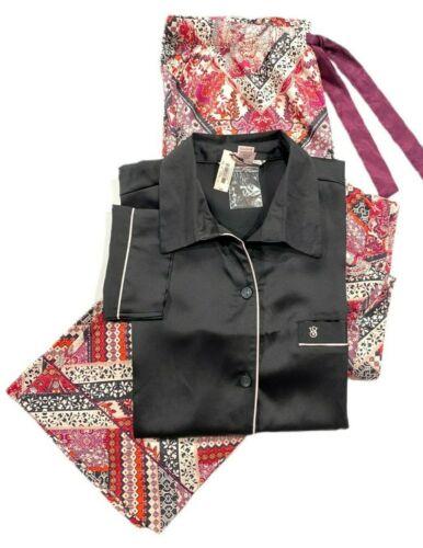 Details about  /Victorias Secret The Afterhours Soft Satin Pajama Set Black Multicolor