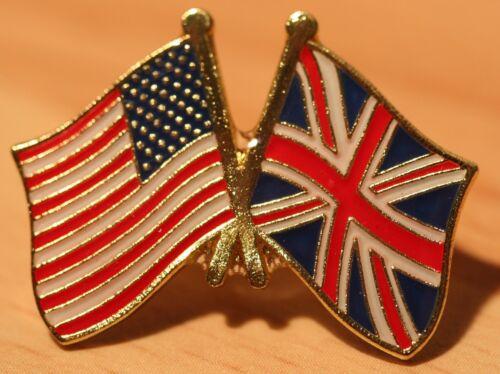USA /& UK FRIENDSHIP Flag Metal Pin Badge Great Britain America