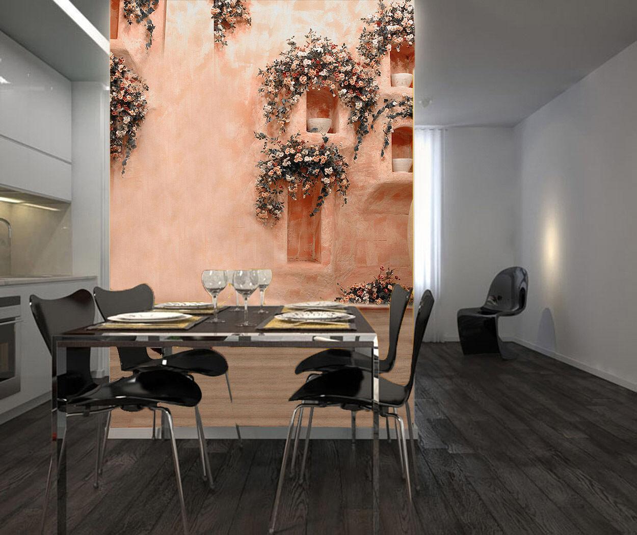 3D pink wände, bluemen 353 Fototapeten Wandbild Fototapete BildTapete Familie DE