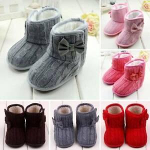 UK Newborn Baby Boy Girl Booties Sole Snow Boots Winter Warm Soft Fur Crib Shoes