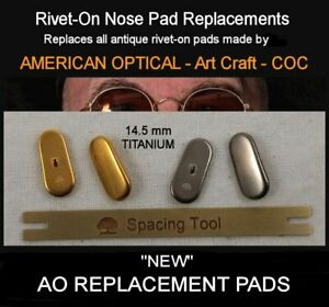 AO PA-33 Type Nose Pads - To replace Antique riveted pads