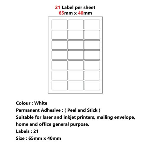 Adhesive Inkjet Laser Sticker Mailing Address 1-65 Labels per sheet A4 Self