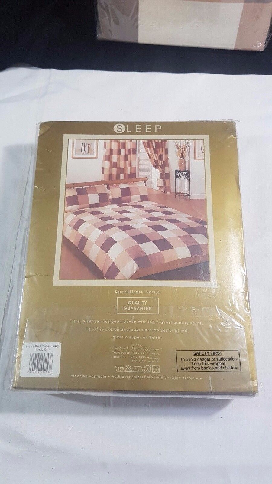 Sleep King Duvet Cover 2 Pillowcases 2 Curtains & Tie Backs Squares Pattern(177)