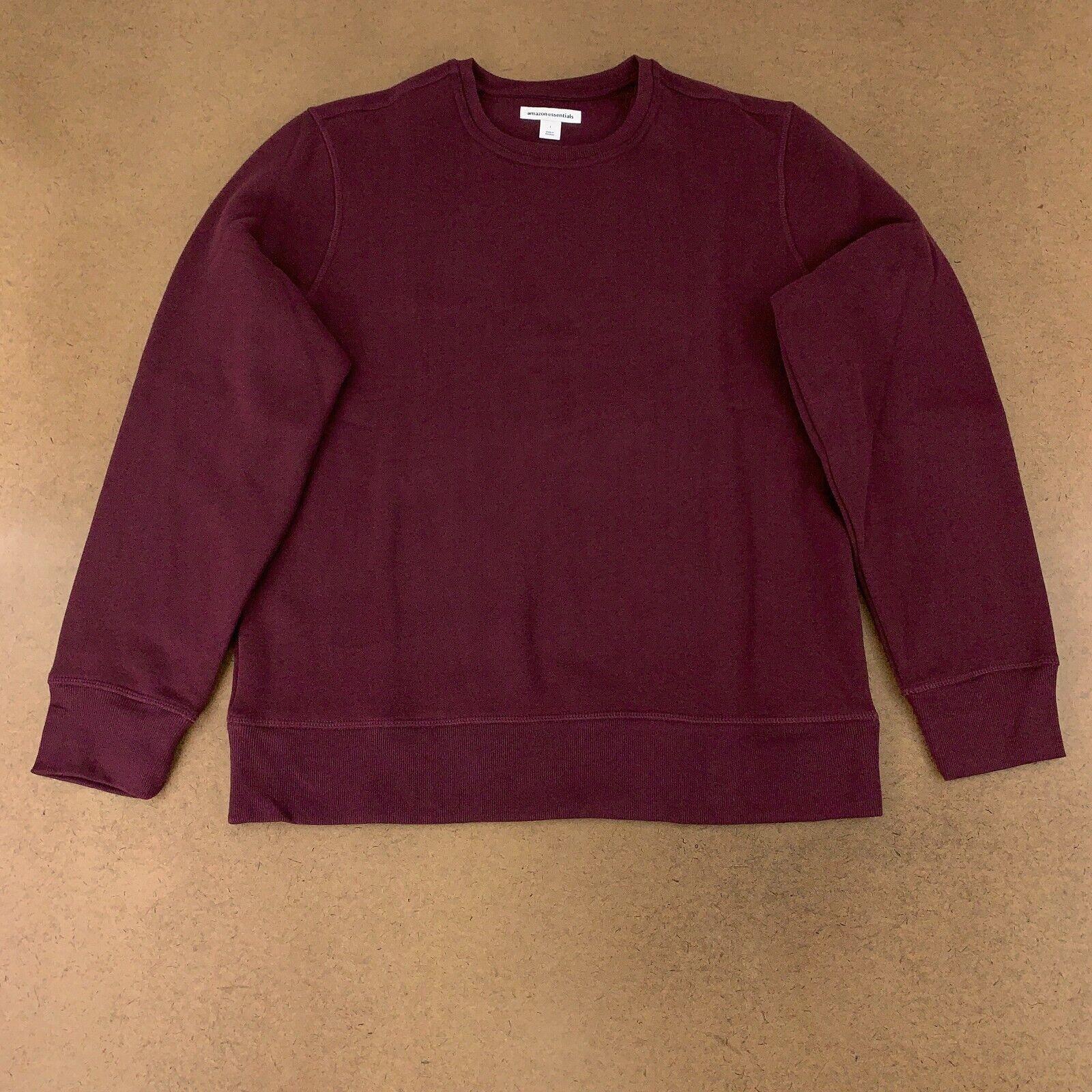 Amazon Essentials Men's Size Large Burgundy Fleece Crewneck Sweatshirt NWT