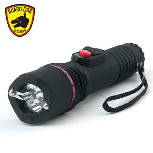 Guard Dog INFERNO BLACK Flashlight 4 Prongs Dual Spark Stun Gun, Rubberized Grip