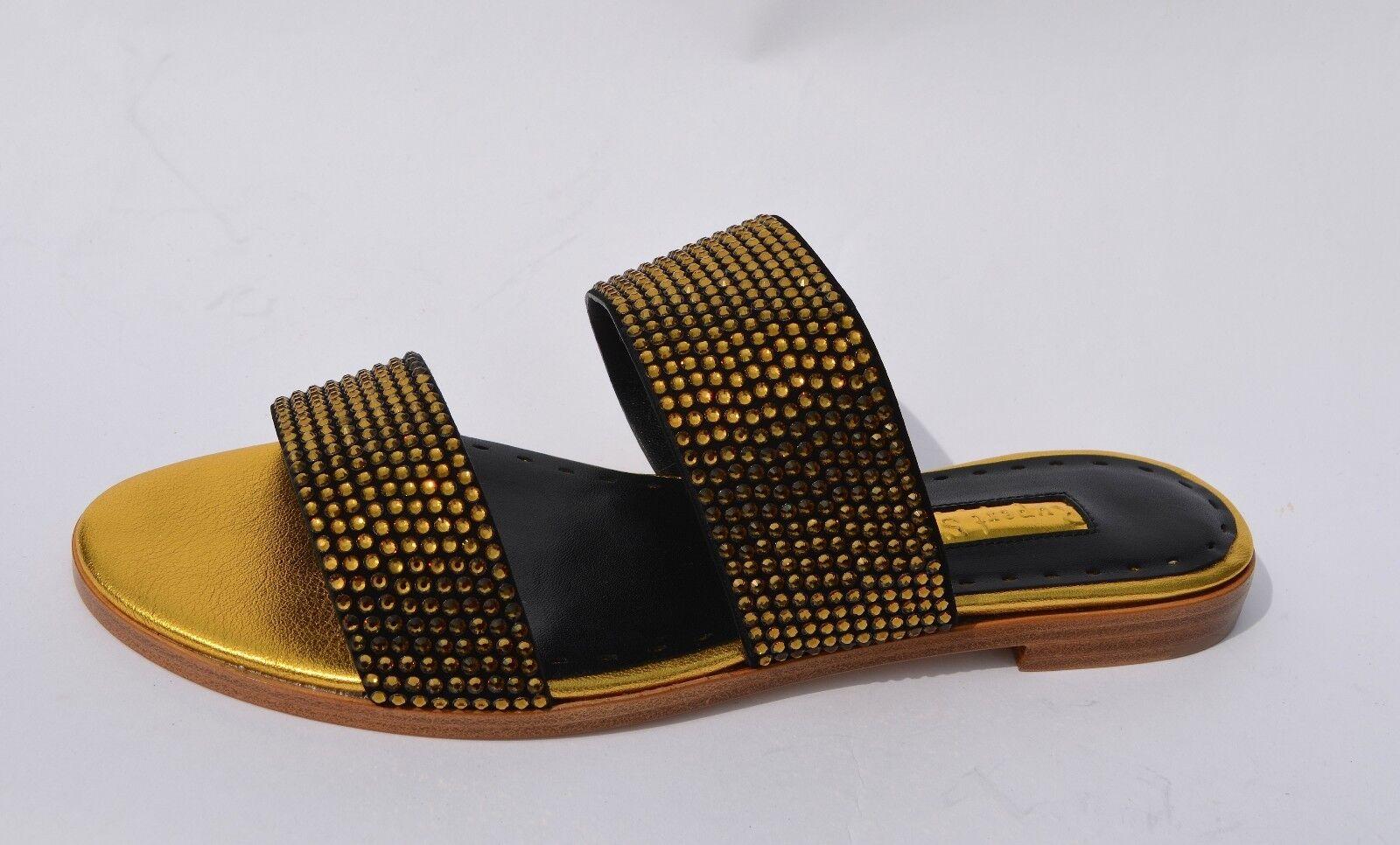 Rupert Sanderson Janis Oro Cristallo E Pantofole in Pelle Nera UK3/EU36