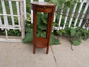 """Round Wood Accent Side End Plant Table + Pull Out Cup Plate NEEDS TLC 30"""" tall"""