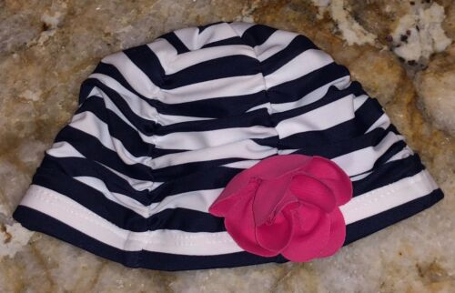 JANIE and JACK Striped Navy Blue White Pink Flower Swim Cap NEW Age 0-6 6-12 mos