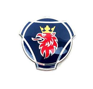 Scania-SAAB-Front-Hood-Bonnet-Head-Badge-Emblem-Logo-2-Pins-80mm-Blue