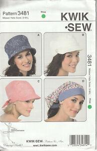 Kwik-Sew-3481-UNCUT-Misses-Hat-Cap-Head-Wrap-Sewing-Pattern-4-Styles-SZ-S-M-L
