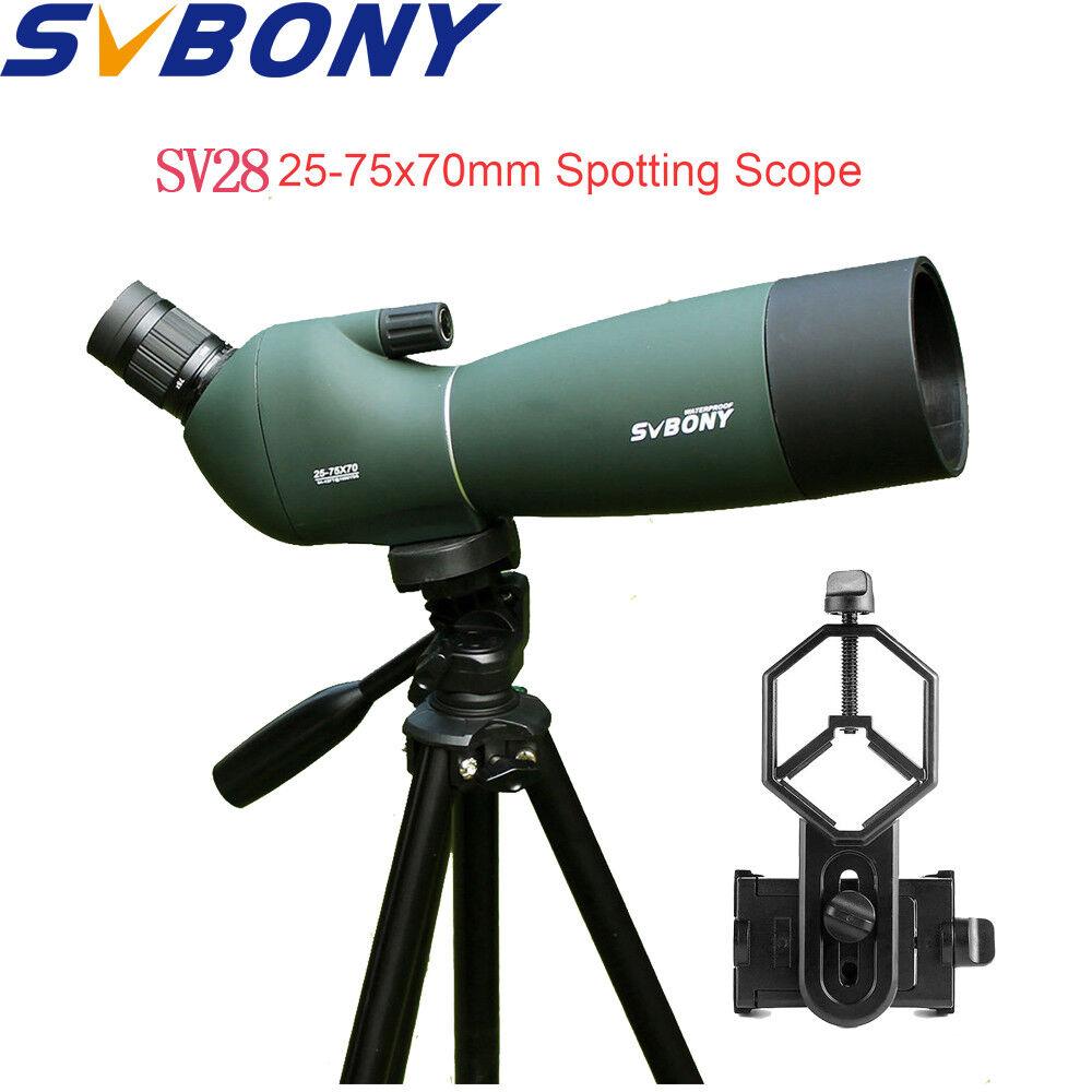SVBONY SV28 25-75x70mm ángulo Telescopio Terrestre Zoom Impermeable + Adaptador De Teléfono Celular