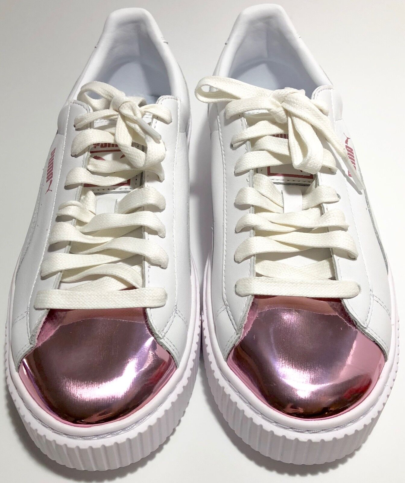 New Women's Puma Basket Platform Metallic shoes 36616904 White-purplec-Snow - 9 B