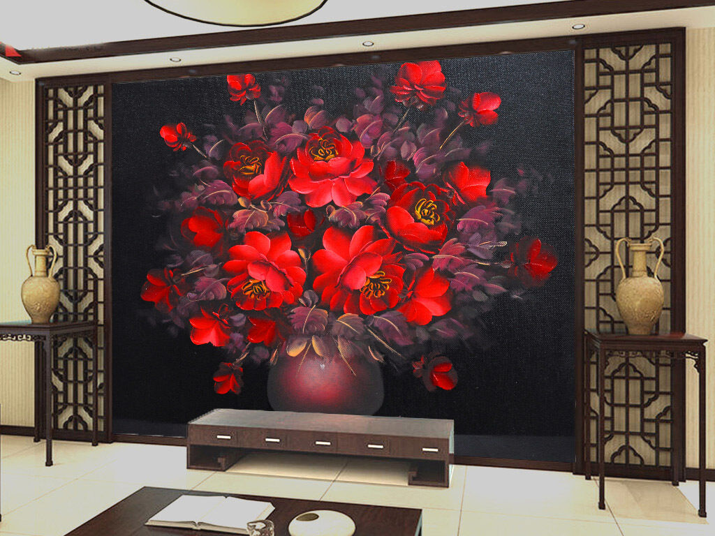 3D Red Blossoms 47 Wall Paper Wall Print Decal Wall Deco Indoor AJ Wall Paper