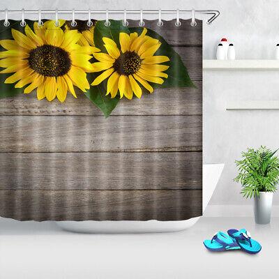 IN US Sunflower On Rustic Wood Board Fabric Shower Curtain Hooks Bathroom Decor