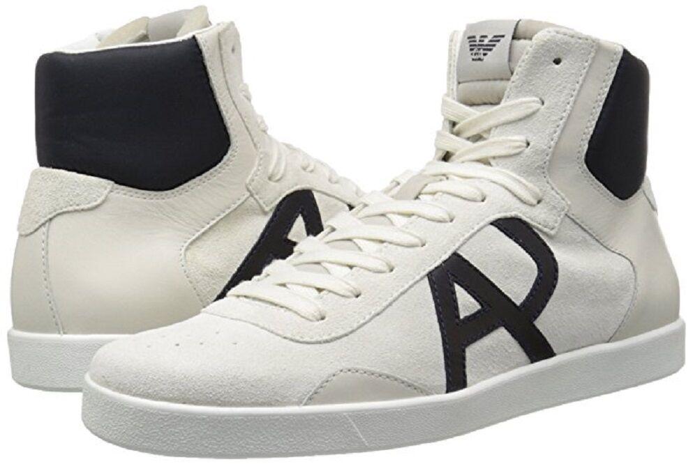 Armani Jeans hommes Classic AJ Logo High Top Sneakers blanc US 8 EU 41 NEW IN BOX