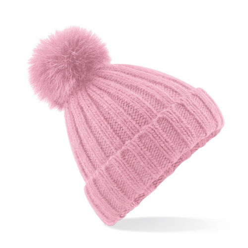 B413 Beechfield Verbier Fur Pom Pom Chunky Beanie Hat Heavy Ribbed Knit