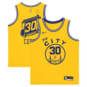 STEPHEN-CURRY-Autographed-Warriors-Gold-039-The-City-039-Nike-Jersey-FANATICS