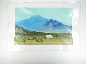 Camel-Campsite-Watercolor-Mountain-Scenery-Matted-Landscape-Not-Signed