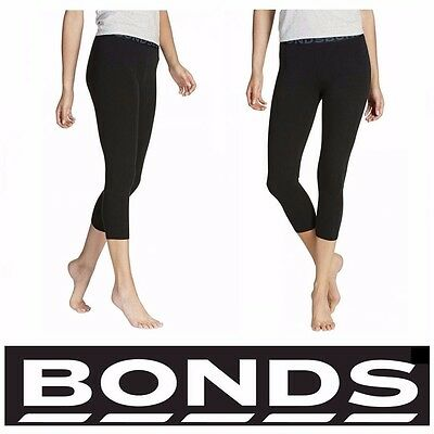 Bonds BLACK 3/4 LEGGINGS Womens Gym School Sports Yoga Bike Pants Sz S-XXL CZBJI