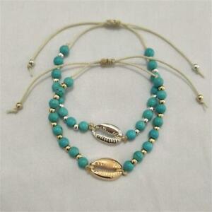 Gold-Silber-Boehmen-Armband-mit-Schalen-Einstellbar-Tuerkis-Armbaender-mit-Seil