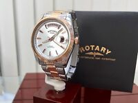 Rotary Havana Men's Watch Day & Date 9ct Rose Gold Plated Watch Rrp £240 (r87